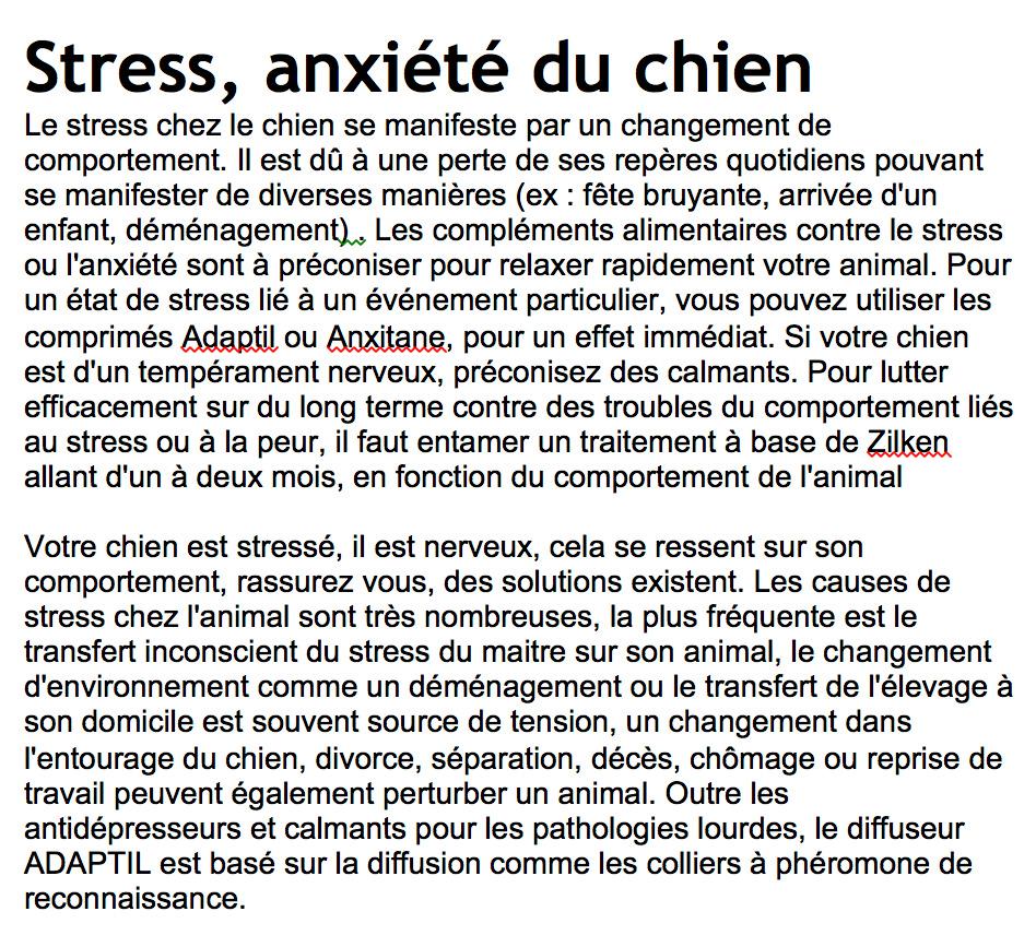 Stess et anxie te du chien